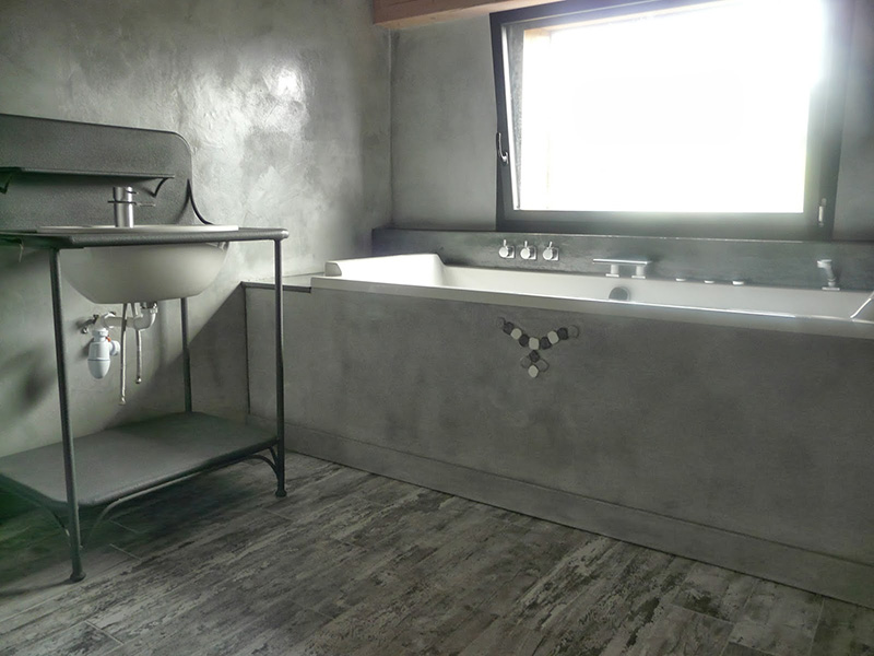 salle de bain beton cire blanc maison design. Black Bedroom Furniture Sets. Home Design Ideas